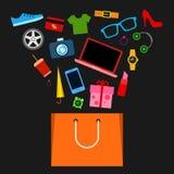 纸购物袋和新的时尚购买 免版税库存照片