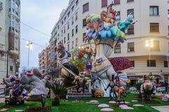 纸mache在Las法利亚斯,巴伦西亚,西班牙计算 免版税库存图片