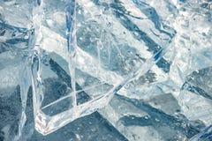 纹理冰表面,破裂冰漂浮 免版税库存照片