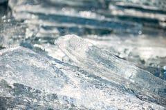 纹理冰表面,破裂冰漂浮 免版税库存图片