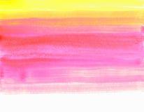 纹理在白色背景在黄色桃红色口气的水彩污迹隔绝的 免版税库存照片