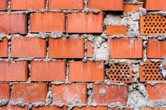 纹理或背景的1红橙色砖墙 免版税库存图片