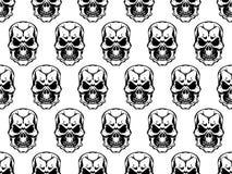 纹理无缝的头骨黑色白色 免版税库存图片