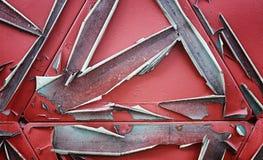 纹理是金属的 从一老生锈的工业背景 免版税库存照片