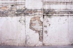 纹理老砖腐朽了在白色油漆水泥被风化的墙壁上的样式摘要在背景的泰国寺庙 库存照片