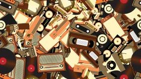 纹理,老减速火箭的行家电子的无缝的样式,手机,电视记录器,球员,录音磁带,录影机,比赛 向量例证