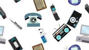 纹理,老减速火箭的行家电子的无缝的样式,手机,电视记录器,球员,录音磁带,录影机,比赛 皇族释放例证