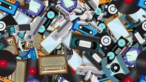 纹理,老减速火箭的行家电子的无缝的样式,手机,电视记录器,球员,录音磁带,录影机,比赛 库存例证