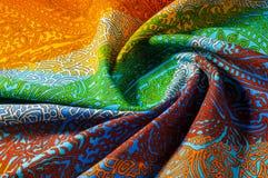 纹理,背景 模式 明亮织品的棉花 Kalamkari pa 免版税图库摄影