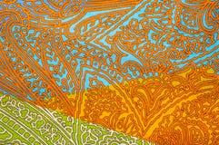 纹理,背景 模式 明亮织品的棉花 Kalamkari pa 免版税库存图片