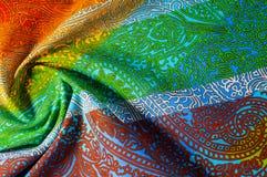 纹理,背景 模式 明亮织品的棉花 Kalamkari pa 库存照片
