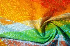 纹理,背景 模式 明亮织品的棉花 Kalamkari pa 免版税库存照片