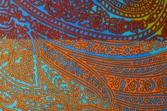 纹理,背景 模式 明亮织品的棉花 Kalamkari pa 库存图片