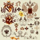纹章元素的汇集您的纹章学项目的 免版税图库摄影