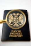 纹章噼啪响老鹰玻璃护照 免版税库存图片
