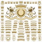 纹章学冠和冠收藏 免版税图库摄影