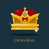 纹章学国王或女王/王后雄伟金黄冠 库存照片