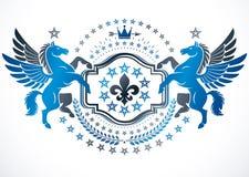 纹章学徽章用优美的Pegas做的装饰象征 向量例证