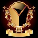 纹章学盾华丽金黄装饰品 皇族释放例证