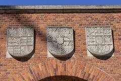纹章学门细节对Wawel皇家城堡克拉科夫,波兰的 免版税库存图片