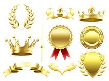 纹章学3D元素 皇家冠和盾 体育挑战优胜者金牌 月桂树花圈和金黄冠 向量例证