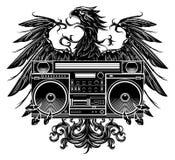 纹章拿着boombox的样式老鹰 免版税库存照片