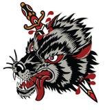 纹身花刺作为经典纹身花刺被称呼的狼例证 库存例证