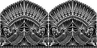 纹身花刺俄国人装饰品 与鸟的民间传说装饰品 免版税库存照片