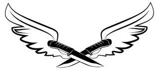 纹身花刺刀子和翼 图库摄影