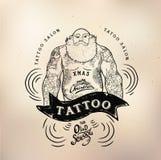 纹身花刺圣诞老人守旧派演播室头骨 库存图片