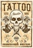 纹身花刺演播室在葡萄酒样式的广告海报 库存例证
