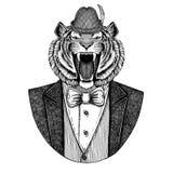 纹身花刺的,象征,徽章,商标,补丁, T恤杉德国人提洛尔帽子巴法力亚全国帽子野生老虎手拉的图象 免版税库存图片