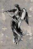 纹身花刺艺术例证,与小提琴的天使 免版税库存图片