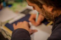 纹身花刺艺术家图画 免版税库存图片
