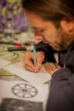 纹身花刺艺术家图画 库存照片