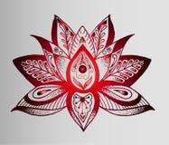 纹身花刺-红色莲花美好的印地安剪影  免版税库存图片