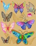纹身花刺蝴蝶首饰集合印刷品布料 图库摄影