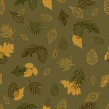 纺织品、墙纸、缎带包装和剪贴薄的秋天无缝的样式 免版税库存图片