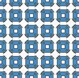 纺织品和纸方形的蓝色样式 免版税图库摄影