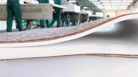 纺织品工厂,纺织工业,翘曲的机器,棉花螺纹,布料制造业,缝纫机,纺织品 股票视频
