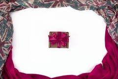 纺织品的装饰装饰的框架 妇女` s围巾桃红色形象英国旗子 免版税库存照片