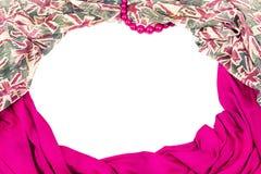 纺织品的装饰装饰的框架 妇女` s围巾桃红色figu 免版税库存照片