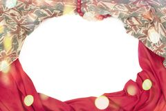 纺织品的装饰装饰的框架 妇女` s围巾红色形象英国旗子 库存照片