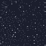 纺织品或纸的夜无缝的样式作为繁星之夜天空 波斯菊的空间 星系的黑暗 向量 图库摄影