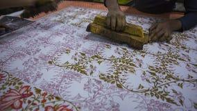 纺织品的木刻版印刷在印度 斋浦尔木刻版印刷Tradi 图库摄影