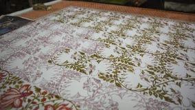 纺织品的木刻版印刷在印度 斋浦尔木刻版印刷Tradi 免版税库存图片