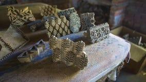 纺织品的木刻版印刷在印度 斋浦尔木刻版印刷Tradi 免版税图库摄影