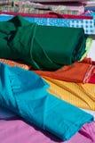 纺织品-多色的盘区 免版税库存图片