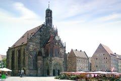 纽伦堡大教堂,在主要集市广场的Frauenkirche Nuermberg,德国 图库摄影
