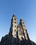 """纽伦堡,德国†""""2016年12月30日:St洛伦茨教会exte 免版税库存图片"""
